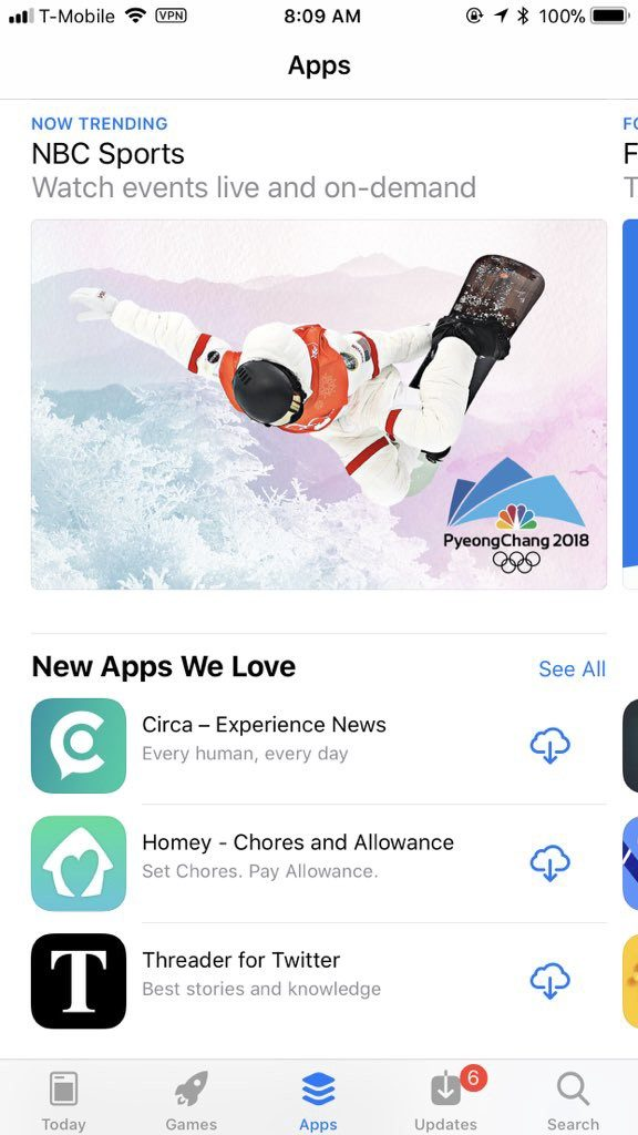 "Threader featured in the ""New Apps We Love"" section on the App Store"