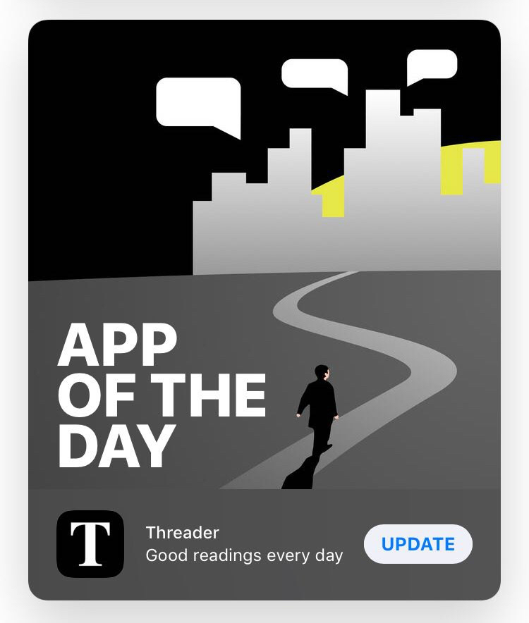 "Threader featured as an ""App of the Day"""